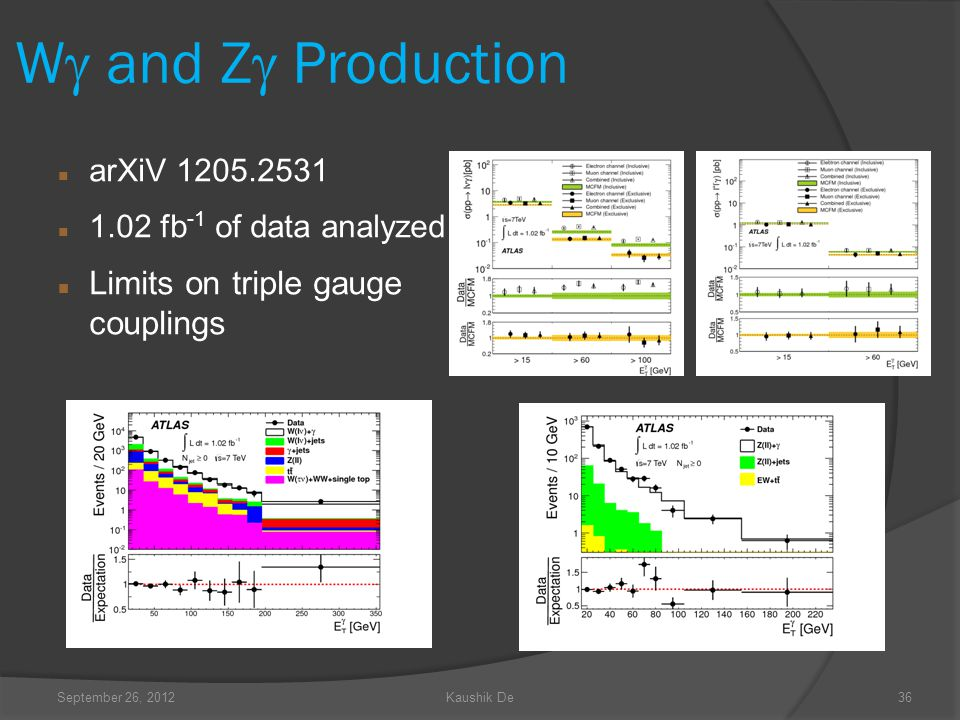 September 26, 2012Kaushik De36 W and Z Production arXiV 1205.2531 1.02 fb -1 of data analyzed Limits on triple gauge couplings