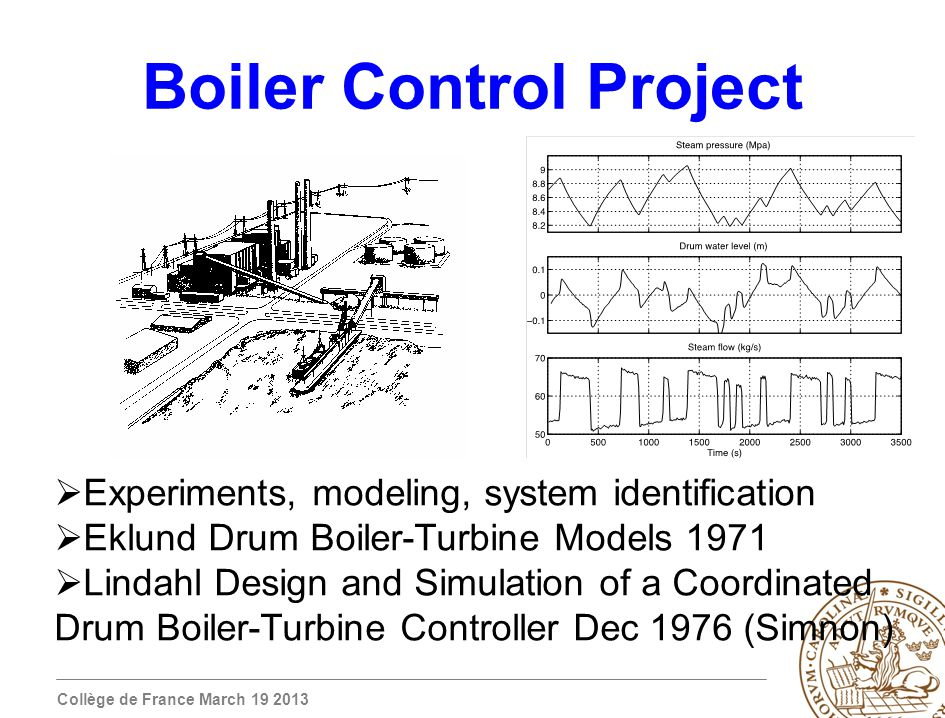 Collège de France March 19 2013 Boiler Control Project Experiments, modeling, system identification Eklund Drum Boiler-Turbine Models 1971 Lindahl Design and Simulation of a Coordinated Drum Boiler-Turbine Controller Dec 1976 (Simnon)