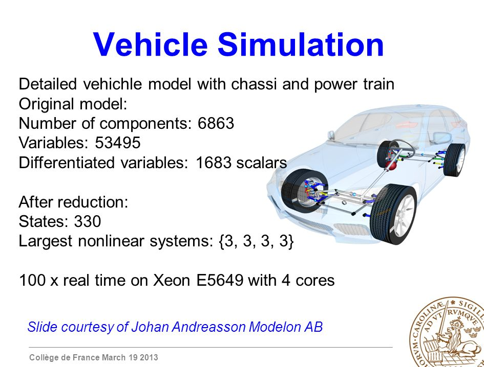 Collège de France March 19 2013 Vehicle Simulation Detailed vehichle model with chassi and power train Original model: Number of components: 6863 Variables: 53495 Differentiated variables: 1683 scalars After reduction: States: 330 Largest nonlinear systems: {3, 3, 3, 3} 100 x real time on Xeon E5649 with 4 cores Slide courtesy of Johan Andreasson Modelon AB