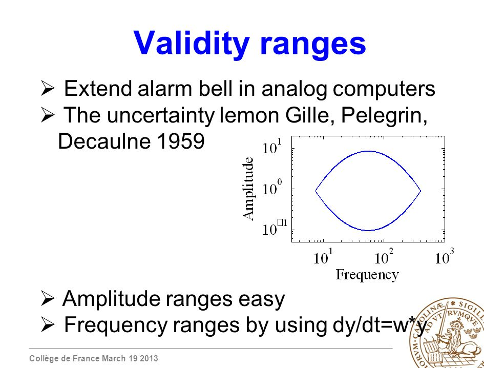 Collège de France March 19 2013 Validity ranges Extend alarm bell in analog computers The uncertainty lemon Gille, Pelegrin, Decaulne 1959 Amplitude ranges easy Frequency ranges by using dy/dt=w*y