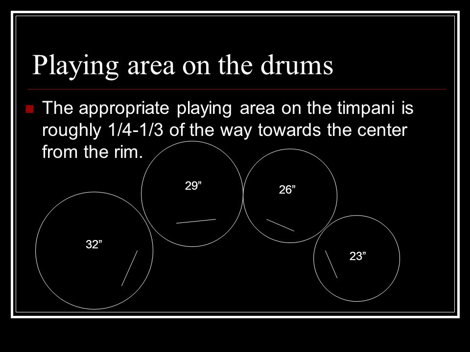 Playing area on the drums The appropriate playing area on the timpani is roughly 1/4-1/3 of the way towards the center from the rim.