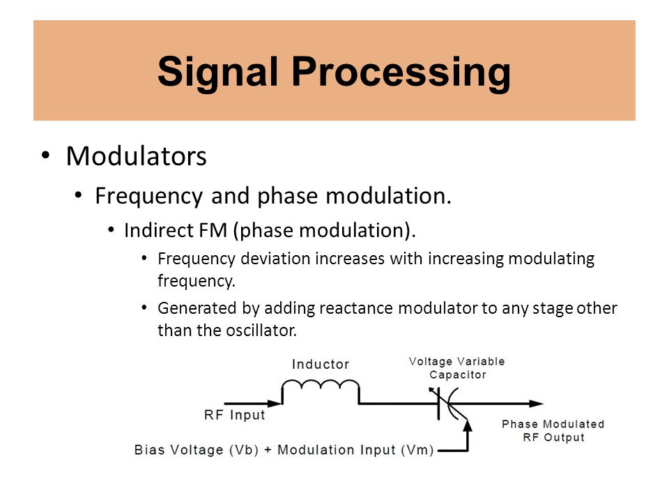Signal Processing Modulators Frequency and phase modulation. Indirect FM (phase modulation). Frequency deviation increases with increasing modulating