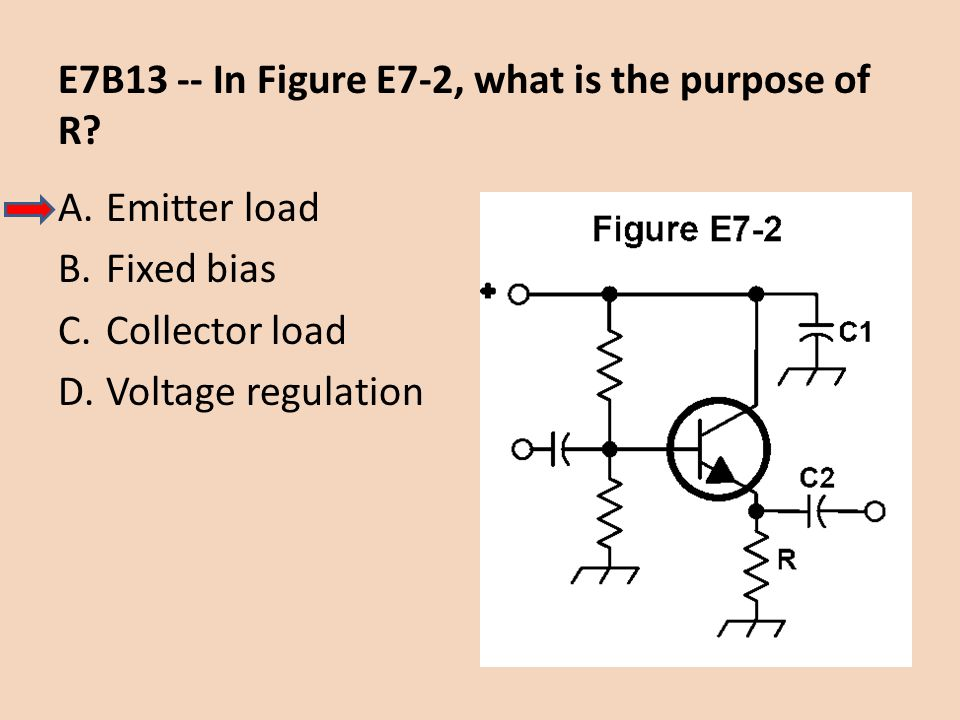 E7B13 -- In Figure E7-2, what is the purpose of R? A.Emitter load B.Fixed bias C.Collector load D.Voltage regulation