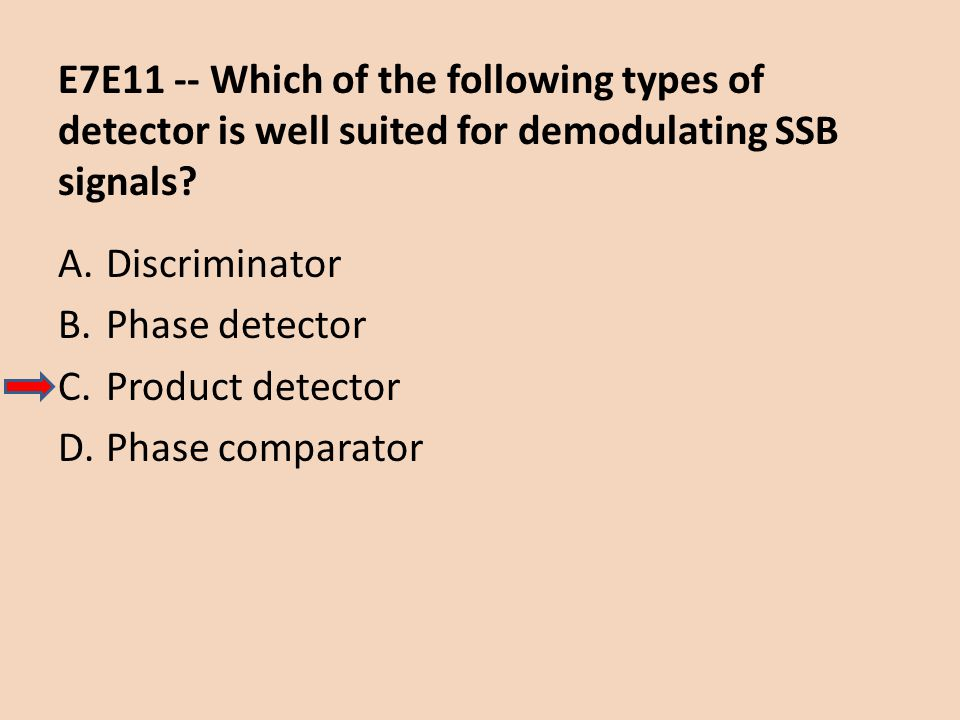 E7E11 -- Which of the following types of detector is well suited for demodulating SSB signals? A.Discriminator B.Phase detector C.Product detector D.P