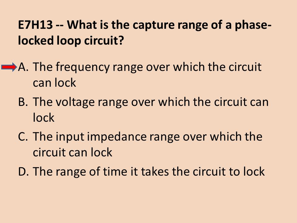 E7H13 -- What is the capture range of a phase- locked loop circuit? A.The frequency range over which the circuit can lock B.The voltage range over whi