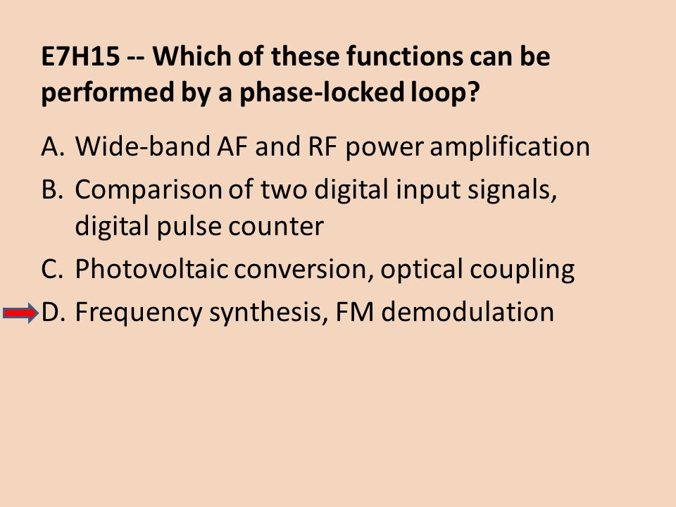 E7H15 -- Which of these functions can be performed by a phase-locked loop? A.Wide-band AF and RF power amplification B.Comparison of two digital input
