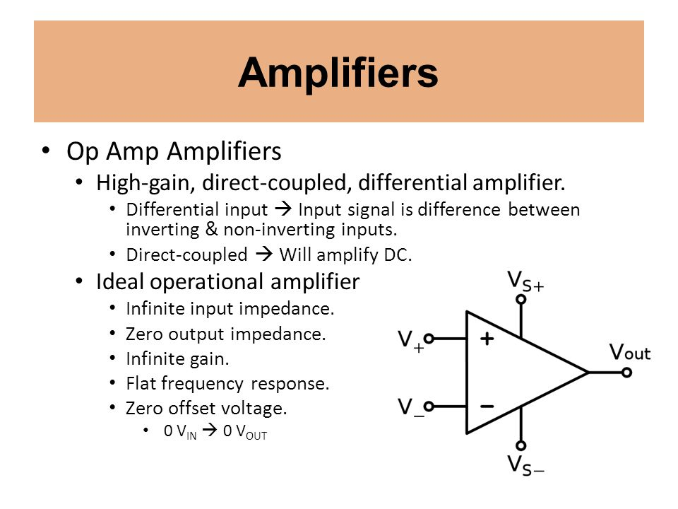Amplifiers Op Amp Amplifiers High-gain, direct-coupled, differential amplifier. Differential input Input signal is difference between inverting & non-