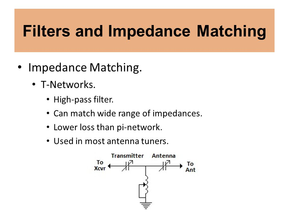 Filters and Impedance Matching Impedance Matching. T-Networks. High-pass filter. Can match wide range of impedances. Lower loss than pi-network. Used