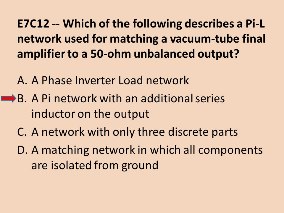 E7C12 -- Which of the following describes a Pi-L network used for matching a vacuum-tube final amplifier to a 50-ohm unbalanced output? A.A Phase Inve
