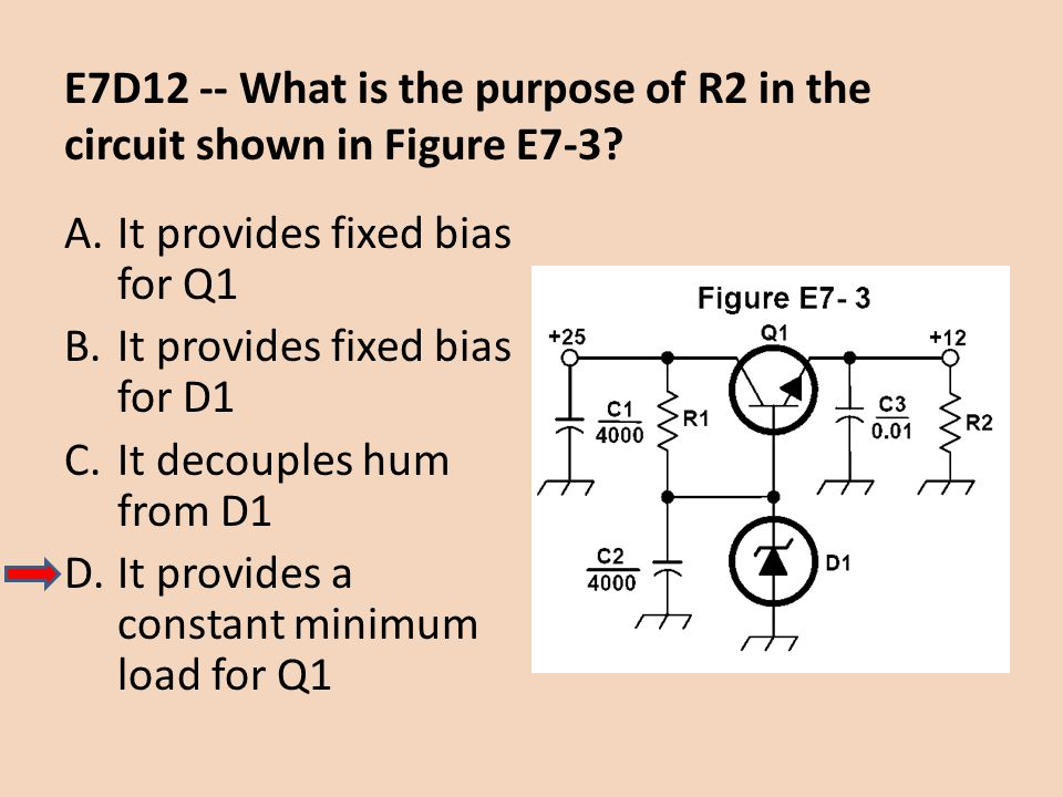 E7D12 -- What is the purpose of R2 in the circuit shown in Figure E7-3? A.It provides fixed bias for Q1 B.It provides fixed bias for D1 C.It decouples
