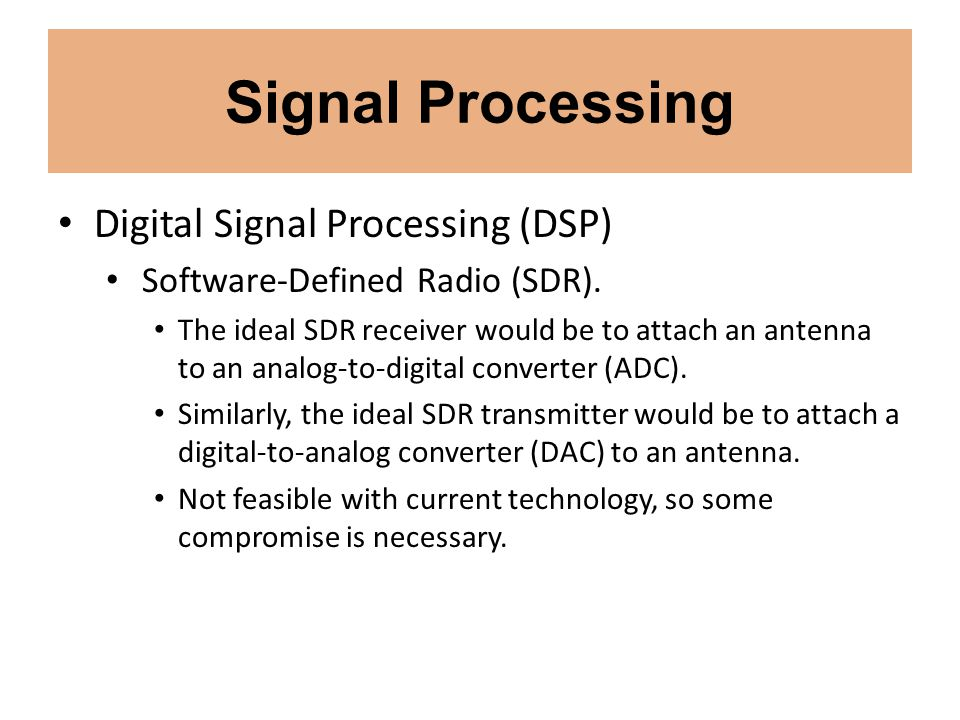 Signal Processing Digital Signal Processing (DSP) Software-Defined Radio (SDR). The ideal SDR receiver would be to attach an antenna to an analog-to-d