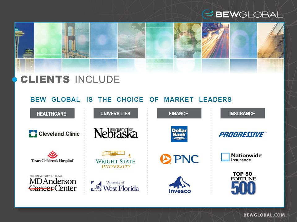 BEW GLOBAL IS THE CHOICE OF MARKET LEADERS CLIENTS INCLUDE UNIVERSITIESINSURANCE HEALTHCARE FINANCE TOP 50
