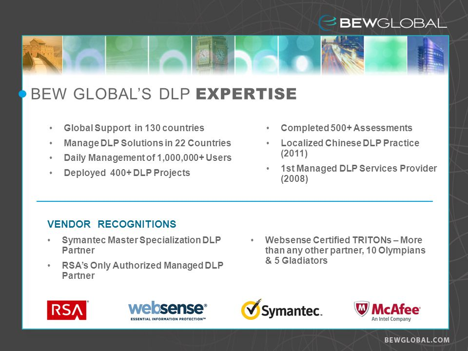 BEW GLOBALS DLP EXPERTISE Global Support in 130 countries Manage DLP Solutions in 22 Countries Daily Management of 1,000,000+ Users Deployed 400+ DLP Projects Completed 500+ Assessments Localized Chinese DLP Practice (2011) 1st Managed DLP Services Provider (2008) VENDOR RECOGNITIONS Symantec Master Specialization DLP Partner RSAs Only Authorized Managed DLP Partner Websense Certified TRITONs – More than any other partner, 10 Olympians & 5 Gladiators