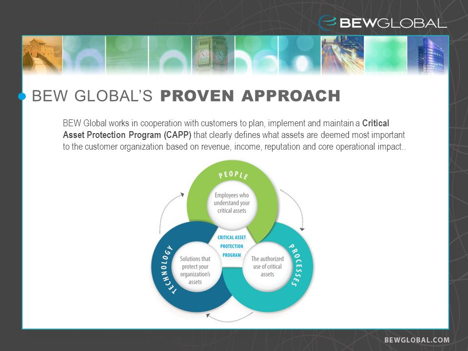 BEW Global works in cooperation with customers to plan, implement and maintain a Critical Asset Protection Program (CAPP) that clearly defines what assets are deemed most important to the customer organization based on revenue, income, reputation and core operational impact..