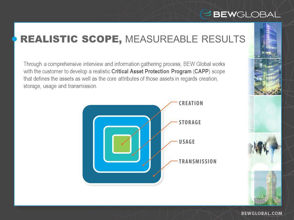 REALISTIC SCOPE, MEASUREABLE RESULTS Through a comprehensive interview and information gathering process, BEW Global works with the customer to develop a realistic Critical Asset Protection Program ( CAPP ) scope that defines the assets as well as the core attributes of those assets in regards creation, storage, usage and transmission.