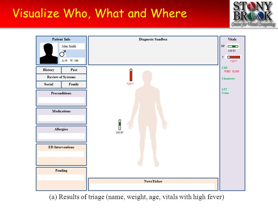 Visualize Who, What and Where (b) Populating the spatial map with symptoms (head problems)