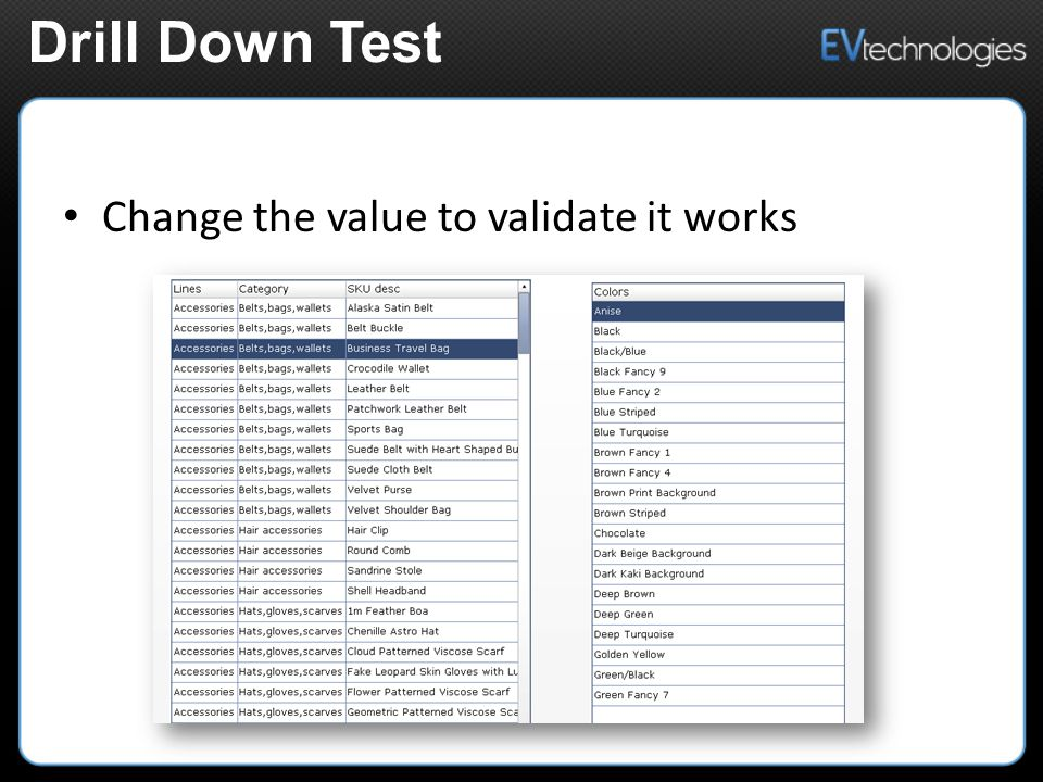 Change the value to validate it works Drill Down Test