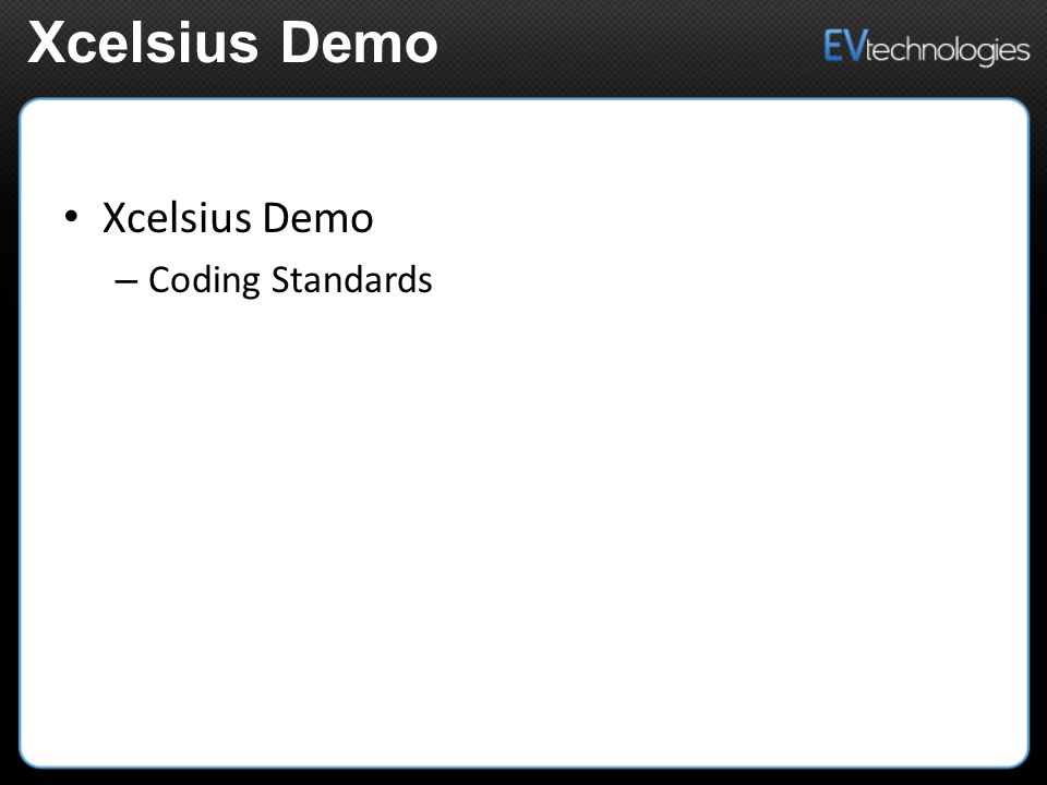 Xcelsius Demo – Coding Standards Xcelsius Demo