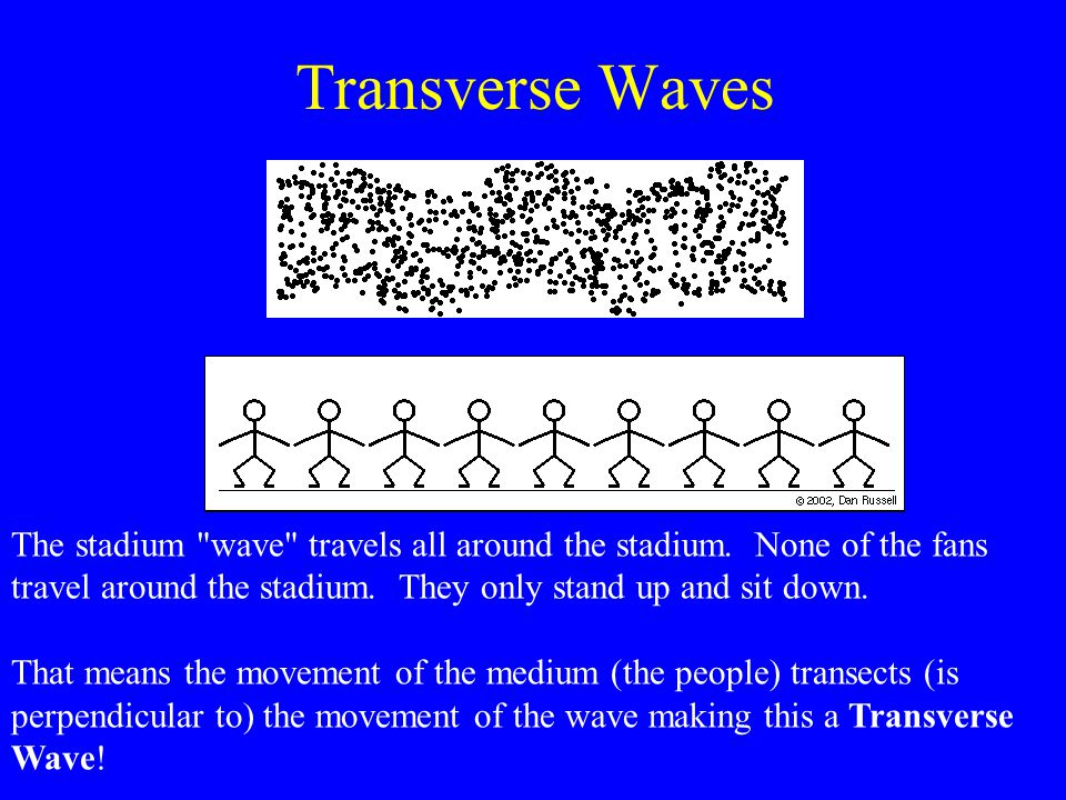 The displacement of the particles of the medium is perpendicular to the direction of wave propagation (pulse). TRANSVERSE e.g. skipping ropes, radio w