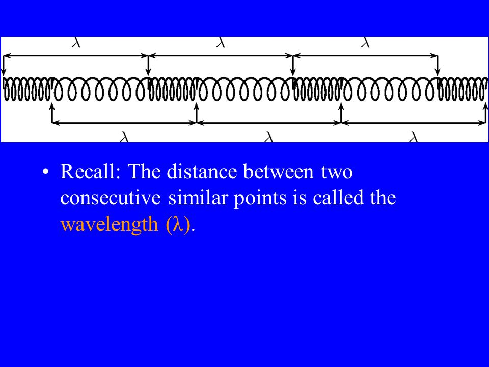 18 Anatomy of a Wave cont. The distance between two consecutive similar points (in this case two crests) is called the wavelength (λ). This is the len