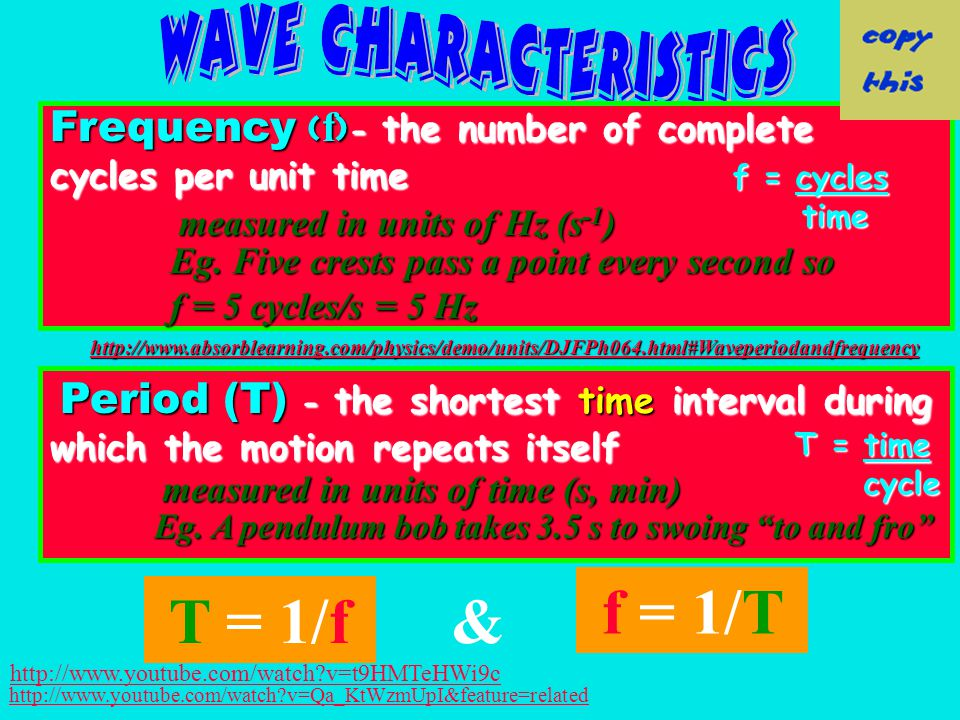 Frequency f - the number of complete cycles per unit time measured in units of Hz (s -1 ) Period (T) - the shortest time interval during which the motion repeats itself measured in units of time (s, min) T = 1/f& f = 1/T Eg.