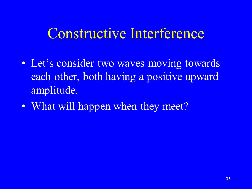 Interference the result of the superposition of two or more waves Principle of Superposition the displacement of the medium when two or more waves pas