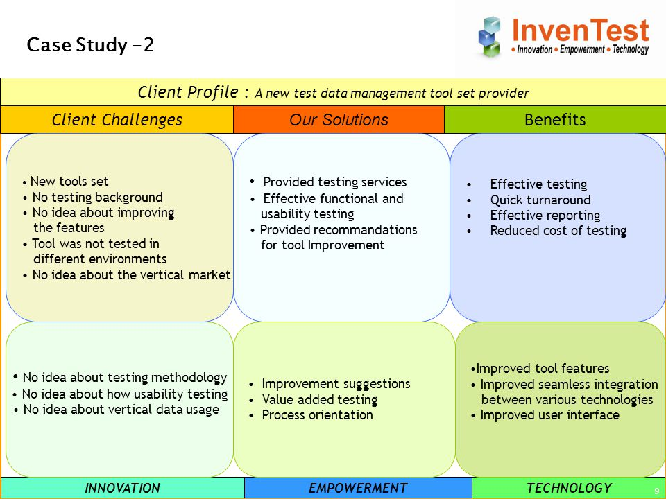 INNOVATIONEMPOWERMENTTECHNOLOGY 9 Case Study -2 Client Challenges Our Solutions Benefits No idea about testing methodology No idea about how usability testing No idea about vertical data usage New tools set No testing background No idea about improving the features Tool was not tested in different environments No idea about the vertical market Provided testing services Effective functional and usability testing Provided recommandations for tool Improvement Improvement suggestions Value added testing Process orientation Effective testing Quick turnaround Effective reporting Reduced cost of testing Improved tool features Improved seamless integration between various technologies Improved user interface Client Profile : A new test data management tool set provider