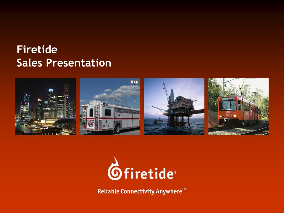 Firetide Sales Presentation 52 Unmatched Mobility Internet Gateway Internet Security Monitors Enables a new breed of mobile applications for public safety and mass transit Seamless roaming of mobile mesh nodes with no handoff delay and zero packet loss Dual radio allows dedicated radio for periodic scans Smart algorithms for scan on single radio Real time video and high-quality voice on moving vehicles Support for mobile WiFi clients Field tested at 90 mph between mobile and stationary nodes with 24 ms handoff