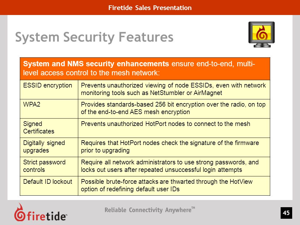 Firetide Sales Presentation 45 System Security Features System and NMS security enhancements ensure end-to-end, multi- level access control to the mes