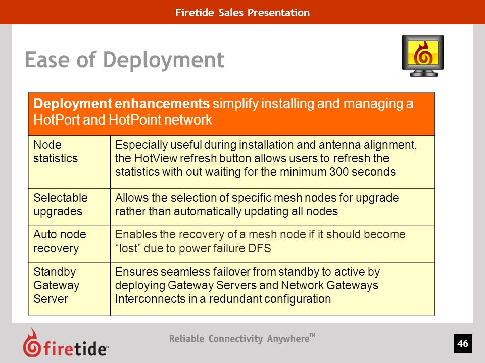 Firetide Sales Presentation 46 Ease of Deployment Deployment enhancements simplify installing and managing a HotPort and HotPoint network Node statist