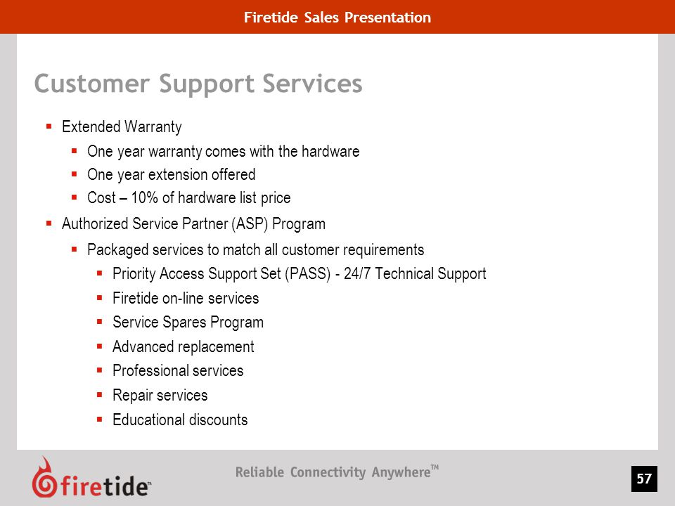 Firetide Sales Presentation 57 Customer Support Services Extended Warranty One year warranty comes with the hardware One year extension offered Cost –