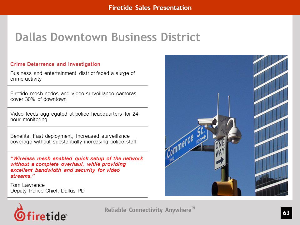 Firetide Sales Presentation 63 Dallas Downtown Business District Crime Deterrence and Investigation Business and entertainment district faced a surge