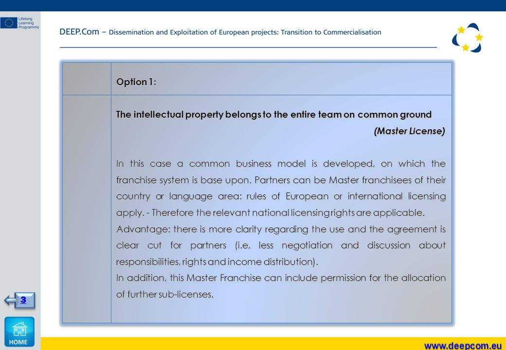 Option 1: The intellectual property belongs to the entire team on common ground (Master License) In this case a common business model is developed, on which the franchise system is base upon.