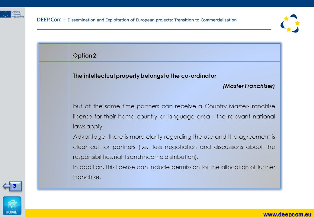 Option 2: The intellectual property belongs to the co-ordinator (Master Franchiser) but at the same time partners can receive a Country Master-Franchi