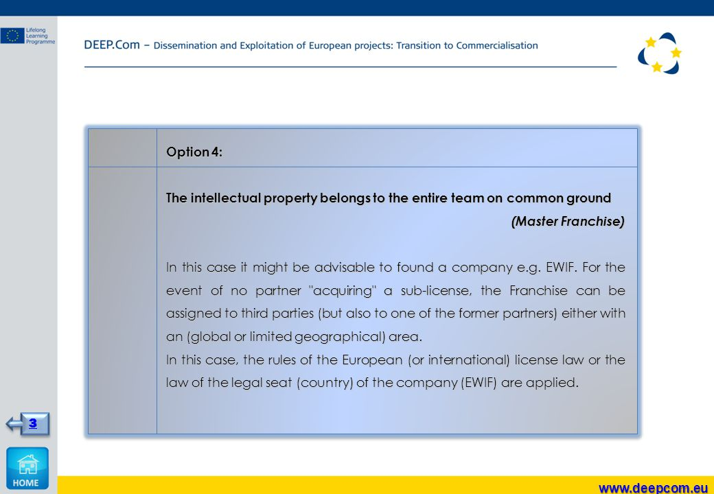 Option 4: The intellectual property belongs to the entire team on common ground (Master Franchise) In this case it might be advisable to found a company e.g.