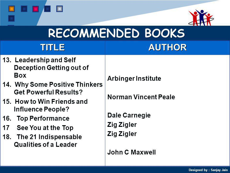 Designed by : Sanjay Jain RECOMMENDED BOOKS TITLEAUTHOR 13.