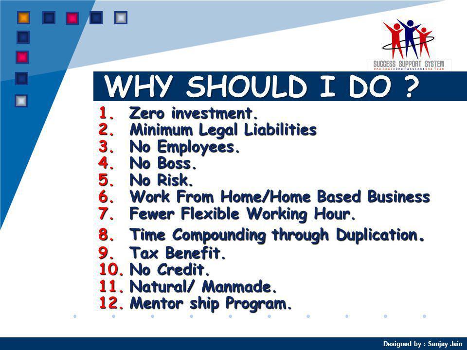 Designed by : Sanjay Jain WHY SHOULD I DO .1.Zero investment.
