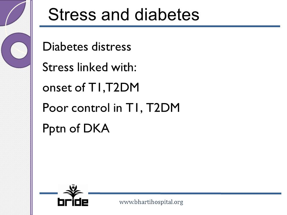 www.bhartihospital.org Stress and diabetes Diabetes distress Stress linked with: onset of T1,T2DM Poor control in T1, T2DM Pptn of DKA
