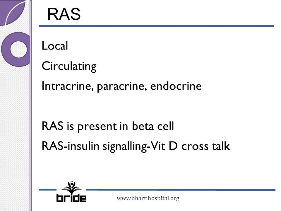 www.bhartihospital.org RAS Local Circulating Intracrine, paracrine, endocrine RAS is present in beta cell RAS-insulin signalling-Vit D cross talk