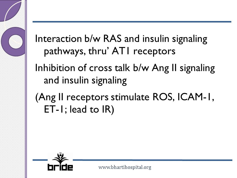 www.bhartihospital.org Interaction b/w RAS and insulin signaling pathways, thru AT1 receptors Inhibition of cross talk b/w Ang II signaling and insuli