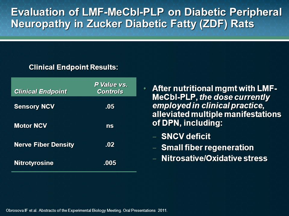 Evaluation of LMF-MeCbl-PLP on Diabetic Peripheral Neuropathy in Zucker Diabetic Fatty (ZDF) Rats After nutritional mgmt with LMF- MeCbl-PLP, the dose