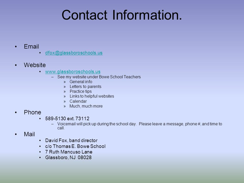 Contact Information.