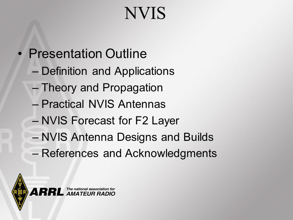 Presentation Outline –Definition and Applications –Theory and Propagation –Practical NVIS Antennas –NVIS Forecast for F2 Layer –NVIS Antenna Designs a