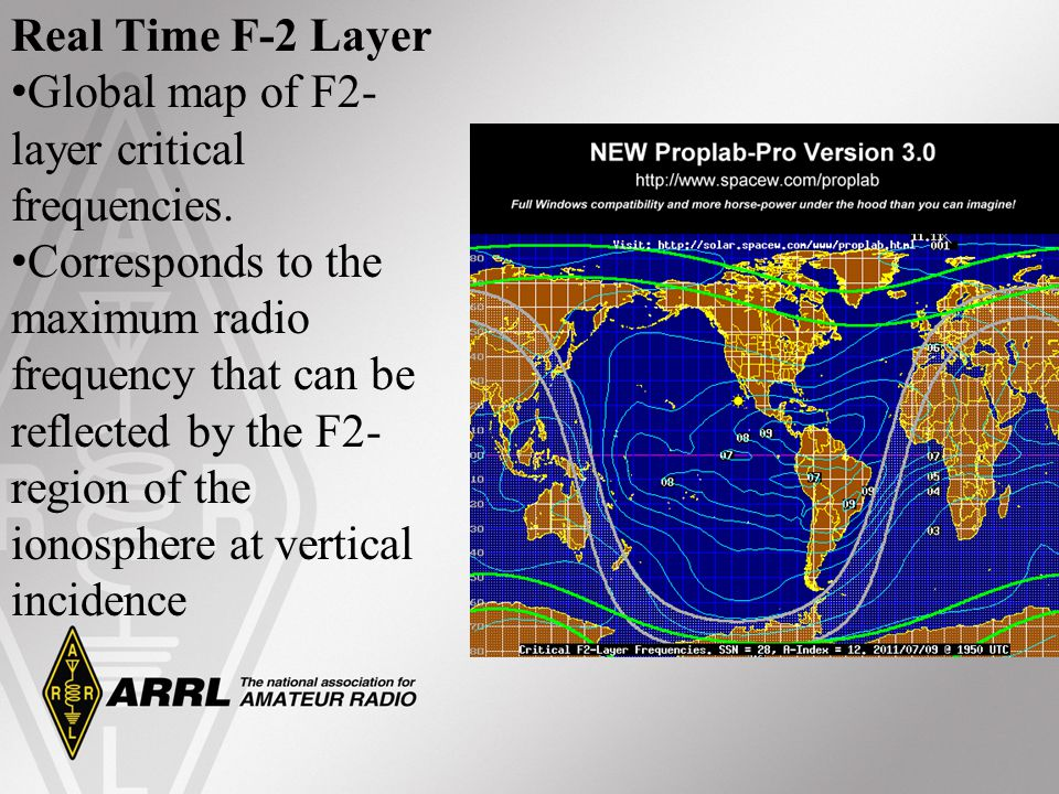 Real Time F-2 Layer Global map of F2- layer critical frequencies. Corresponds to the maximum radio frequency that can be reflected by the F2- region o
