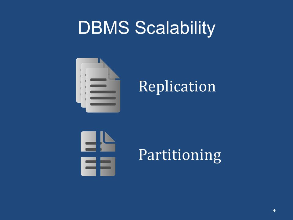 DBMS Scalability Replication 4 Partitioning