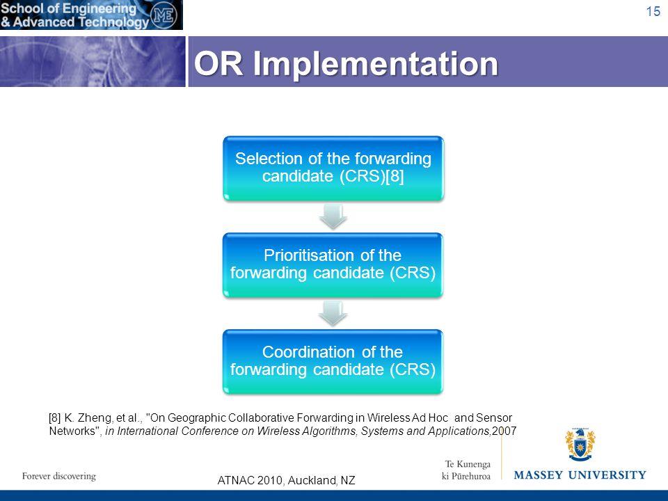 ATNAC 2010, Auckland, NZ Selection of the forwarding candidate (CRS)[8] Prioritisation of the forwarding candidate (CRS) Coordination of the forwardin