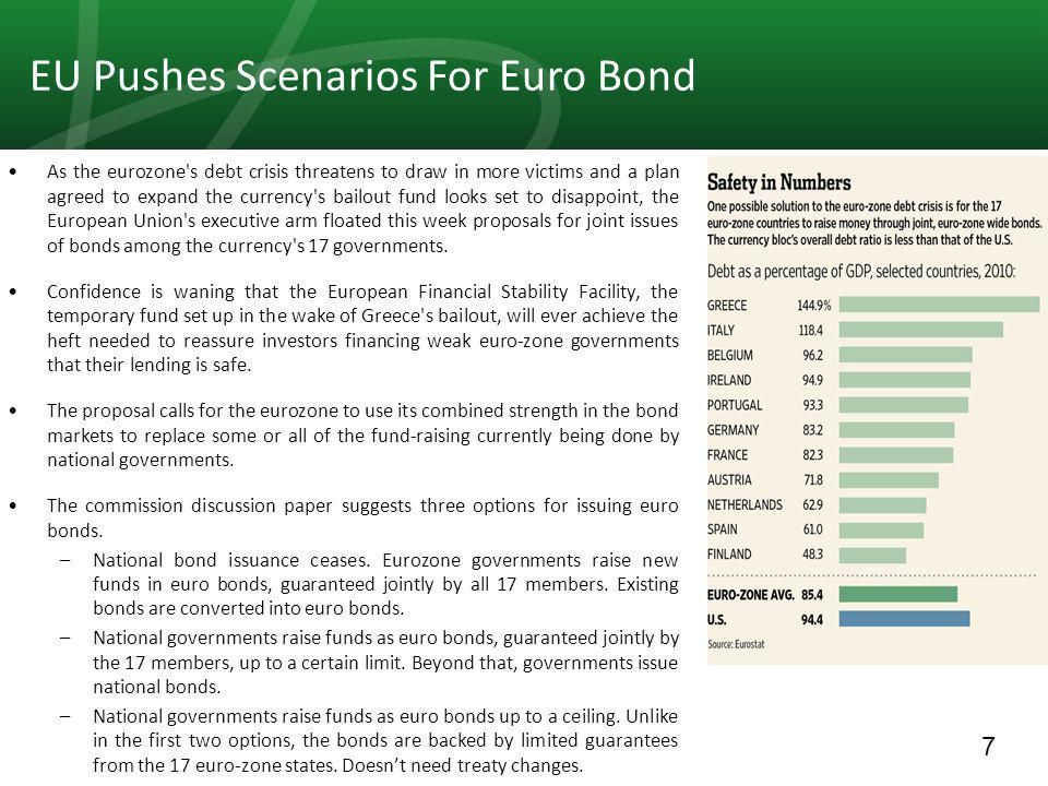 7 EU Pushes Scenarios For Euro Bond As the eurozone s debt crisis threatens to draw in more victims and a plan agreed to expand the currency s bailout fund looks set to disappoint, the European Union s executive arm floated this week proposals for joint issues of bonds among the currency s 17 governments.