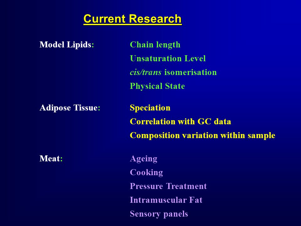 Current Research Model Lipids:Chain length Unsaturation Level cis/trans isomerisation Physical State Adipose Tissue: Speciation Correlation with GC data Composition variation within sample Meat:Ageing Cooking Pressure Treatment Intramuscular Fat Sensory panels