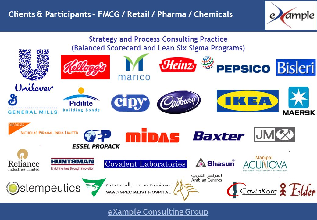 eXample Consulting Group Clients & Participants – FMCG / Retail / Pharma / Chemicals Strategy and Process Consulting Practice (Balanced Scorecard and Lean Six Sigma Programs)