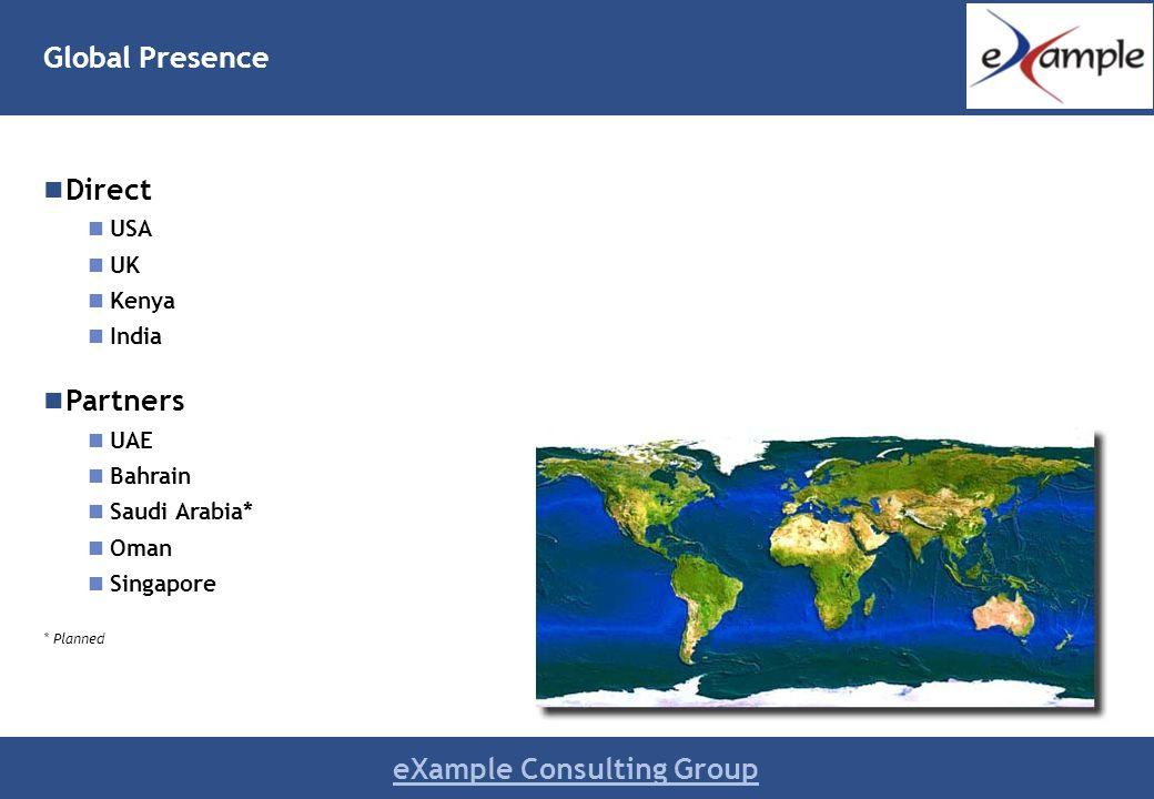 eXample Consulting Group Geographic Presence Direct USA UK Kenya India Partners UAE Bahrain Saudi Arabia* Oman Singapore * Planned Global Presence